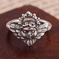 Silver cocktail ring, 'Cherub' - 950 Silver Cherub Cocktail Ring Crafted in Peru