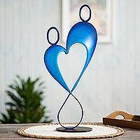 Steel sculpture, 'Celestial Love' - Abstract Romantic Steel Sculpture in Blue from Peru