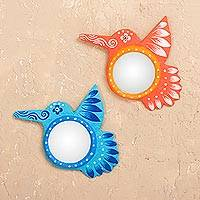 Recycled papier mache wall mirrors, 'Hummingbird's Elegance' (pair) - Recycled Paper Hummingbird Wall Mirrors from Peru (Pair)