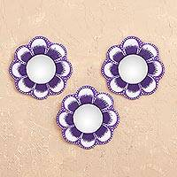 Recycled papier mache wall mirrors, 'Purple Mini Flowers' (set of 3) - Purple Recycled Papier Mache Flower Wall Mirrors (Set of 3)