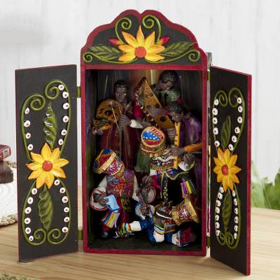 Wood and ceramic retablo, 'Tijera Dance' - Cultural Dance Wood and Ceramic Retablo from Peru