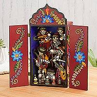 Wood and ceramic retablo, 'Musical Caravan' - Wood and Ceramic Day of the Dead Music Retablo from Peru