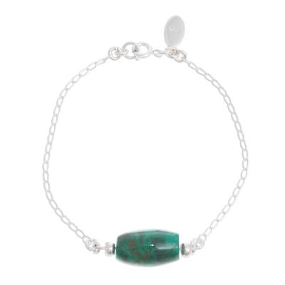 Natural Chrysocolla Pendant Bracelet from Peru