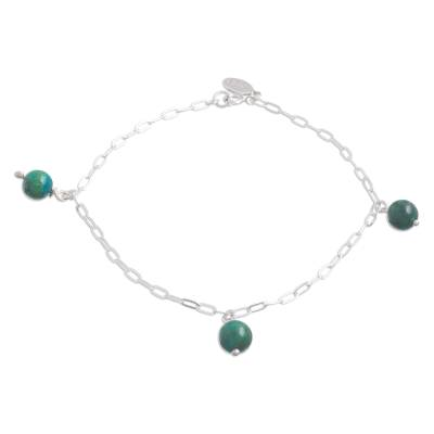 Chrysocolla Charm Anklet Crafted in Peru