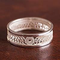 Sterling silver filigree band ring, 'Beautiful Waves'