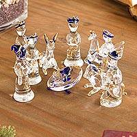 Glass nativity scene, 'Andean Festivity' (12 piece) - Clear Gilded Glass Nativity Scene from Peru (12 Piece)