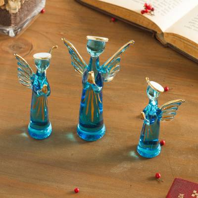 Glass figurines, 'Reverent Angels in Blue' (set of 3) - Blue Glass Gilded Angel Figurines from Peru (Set of 3)