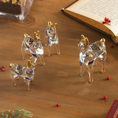 Glass figurines, 'Llamas of the Andes' (set of 4) - Clear Glass Gilded Llama Figurines from Peru (Set of 4)