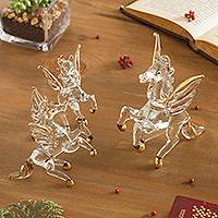 Gilded glass figurines, 'Rearing Pegasus' (set of 3) - Clear Glass Gilded Pegasus Figurines from Peru (Set of 3)
