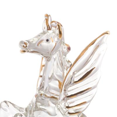 Clear Glass Gilded Pegasus Figurines From Peru Set Of 3 Rearing Pegasus Novica