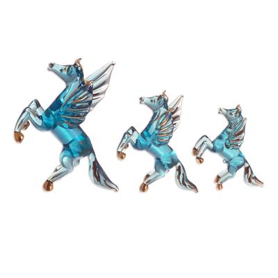Blue Glass Pegasus Figurines From Peru Set Of 3 Rearing Pegasus In Blue Novica