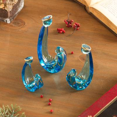 Glass figurines, Gleaming Celebration in Blue (6 piece)
