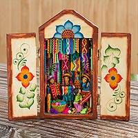 Ceramic retablo, 'Colorful Marketplace' - Colorful Wood and Ceramic Retablo of Weavers at Market