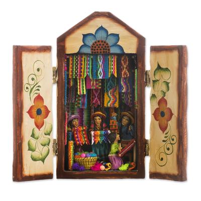 Ceramic retablo, 'Colorful Marketplace' - Colorful Wood and Ceramic Retablo of Weavers at Market