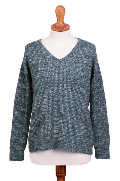 Alpaca blend pullover sweater, 'Mesa Mist' - Azure Blue Baby Alpaca Blend Long Sleeve V-Neck Knit Sweater