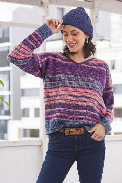 Baby alpaca blend pullover sweater, 'Mesa Sunrise' - Multi-Color Stripe Alpaca Blend Long Sleeve V-Neck Sweater