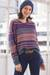 Baby alpaca blend pullover sweater, 'Mesa Sunrise' - Multi-Color Stripe Alpaca Blend Long Sleeve V-Neck Sweater (image 2b) thumbail