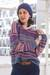 Baby alpaca blend pullover sweater, 'Mesa Sunrise' - Multi-Color Stripe Alpaca Blend Long Sleeve V-Neck Sweater (image 2c) thumbail