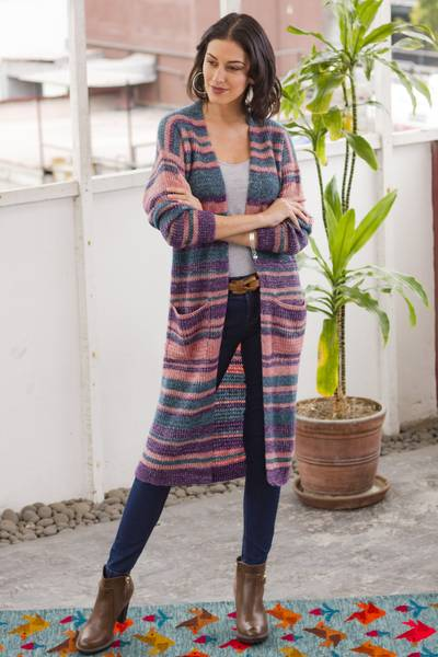 Baby alpaca blend duster cardigan, 'Mesa Sunrise' - Striped Alpaca Blend Long Sleeve V-Neck Duster Cardigan