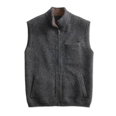 Mens boiled alpaca wool blend vest, Andean Holiday