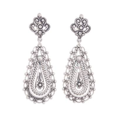 Artisan Crafted Silver Filigree Dangle Earrings from Peru