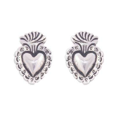 Religious Heart 950 Silver Button Earrings from Peru
