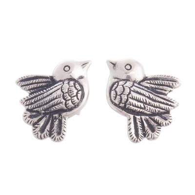 950 Silver Dove Button Earrings Crafted in Peru