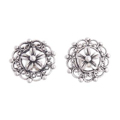 Floral 950 Silver Filigree Button Earrings Crafted in Peru