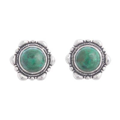 Artisan Crafted Chrysocolla Button Earrings from Peru
