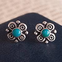 Chrysocolla stud earrings, 'Divine Sweetness' - Artisan Crafted Chrysocolla Stud Earrings from Peru