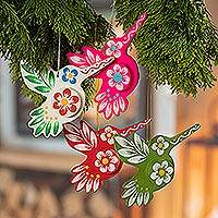 Papier mache ornaments, 'Ayacucho Hummingbirds' (set of 4) - Floral Papier Mache Hummingbird Ornaments (Set of 4)