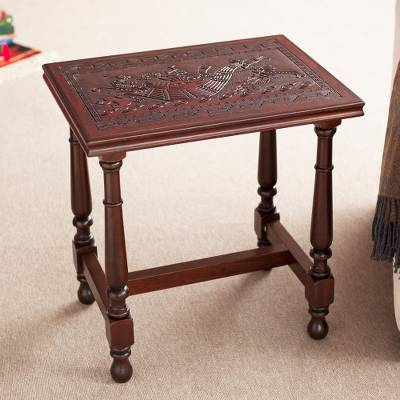 Leather and wood accent table, 'Andean Navigator' - Inca-Inspired Leather and Wood Accent Table from Peru