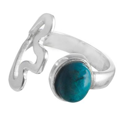 Chrysocolla and Sterling Silver Wrap Ring from Peru