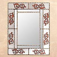 Wood wall mirror, 'Vintage Colonial' - Vine Motif Wood Wall Mirror Crafted in Peru