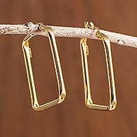 Gold plated sterling silver hoop earrings, 'Golden Windows' - 18k Gold-Plated Sterling Silver Rectangular Hoop Earrings