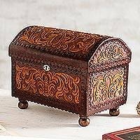 Leather and wood jewelry chest, 'Colonial Style'