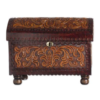 Leather and wood jewelry chest, 'Colonial Style' - Vine Pattern Leather and Wood Jewelry Chest from Peru