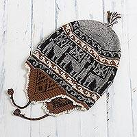 Alpaca blend chullo hat, 'Llama Silhouette in Smoke' - Alpaca Blend Chullo Hat with Llama Patterns in Smoke