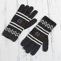 Alpaca blend gloves, 'Graphite Stars' - Knit Alpaca Blend Gloves in Graphite from Peru