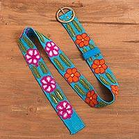 Wool belt, 'Cyan Bouquet' - Floral Embroidered Wool Belt in Cyan from Peru