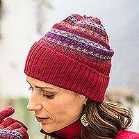 100% alpaca knit hat, 'Andean Art' - Striped 100% Alpaca Knit Hat from Peru