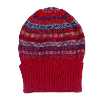 100% alpaca knit hat, 'Andean Art' - Striped 100% Alpaca Knit Hat from Peru