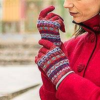 100% alpaca knit gloves, 'Andean Art' - Striped 100% Alpaca Knit Gloves from Peru