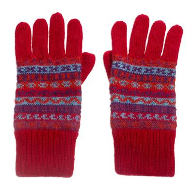 100% alpaca gloves, 'Andean Appeal' - Striped 100% Alpaca Knit Gloves from Peru