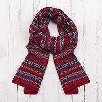 100% alpaca scarf, 'Andean Art' - Striped 100% Alpaca Wrap Scarf Crafted in Peru