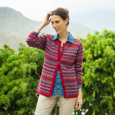 100% alpaca cardigan, 'Andean Appeal' - Striped 100% Alpaca Cardigan Crafted in Peru