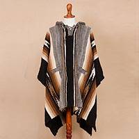 Men's 100% alpaca hooded poncho, 'Path to the Mountain'