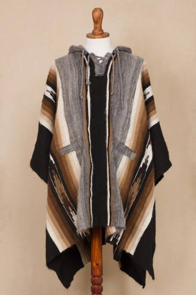 Men's 100% alpaca hooded poncho, 'Path to the Mountain' - Striped Men's 100% Alpaca Hooded Poncho from Peru