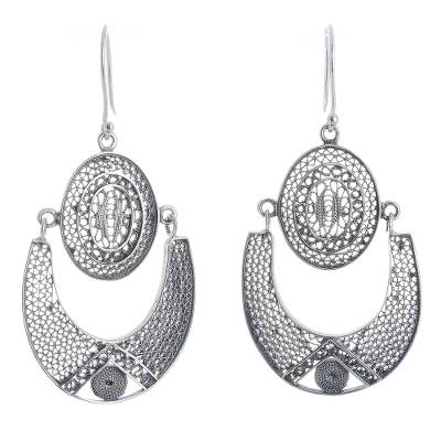 Oval and Horseshoe Sterling Silver Filigree Dangle Earrings