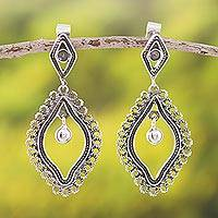 Sterling silver filigree dangle earrings, 'Perfect Form' - Diamond-Shaped Sterling Silver Filigree Dangle Earrings